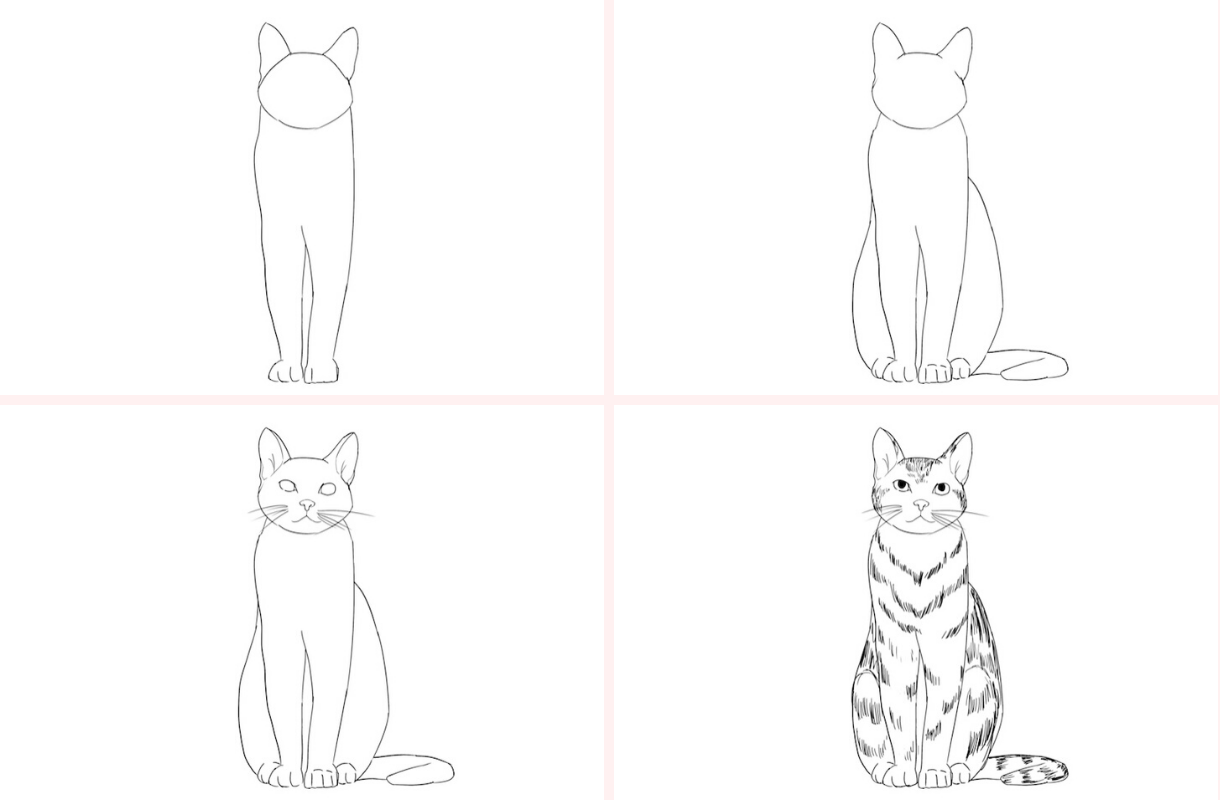 How To Draw A Cat The Easy Way Step By Step Turorial